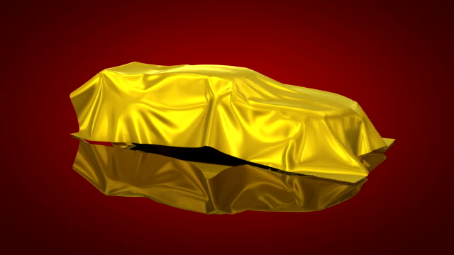 3D animation of a luxury car under a sheet