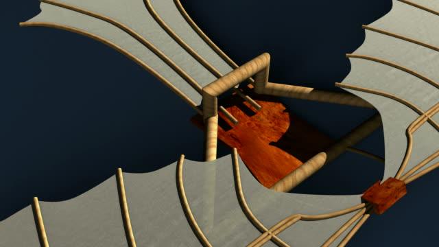 animation of a model of a glider designed by leonardo da vinci (1452-1519). - ala di aeroplano video stock e b–roll
