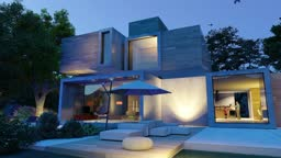 Animation of a modern cubic house with pool and garden in the evening