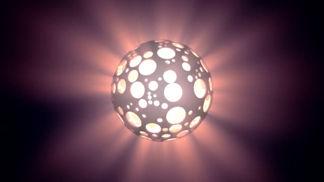 animation of abstract sphere with holes. volumetric light beams. 3d rendering. 4k, ultra hd resolution. - light beam stock videos & royalty-free footage