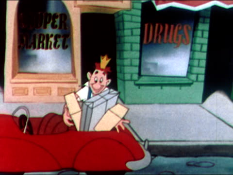 1949 animation of american factory worker dubbed 'king joe' driving in red convertible / pulling up to curb outside stores / running in and out of stores with purchases and dropping off in car / driving off / audio - parking stock videos & royalty-free footage