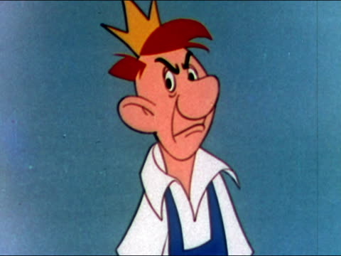 1949 animation of American factory worker dubbed 'King Joe' frowning at camera / audio