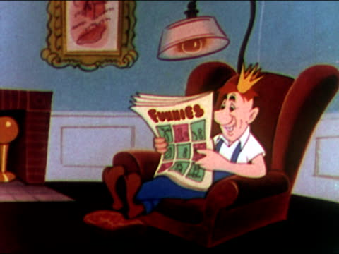 1949 animation of american factory worker dubbed 'king joe' reading comic strips at home at end of work day / laughing / audio - 1949 stock videos & royalty-free footage