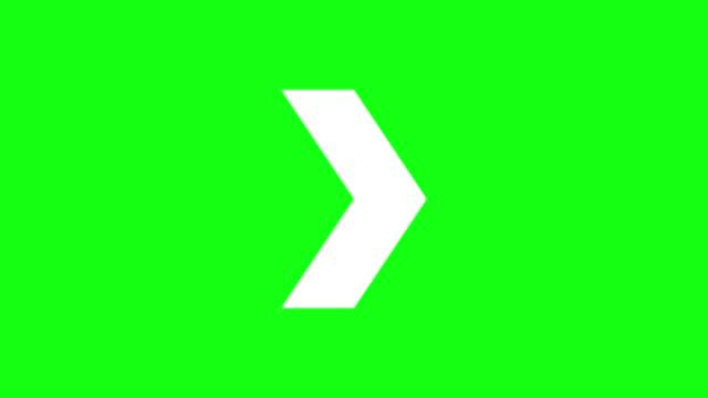 vídeos de stock, filmes e b-roll de animação de setas assinam na tela verde - sinal de seta