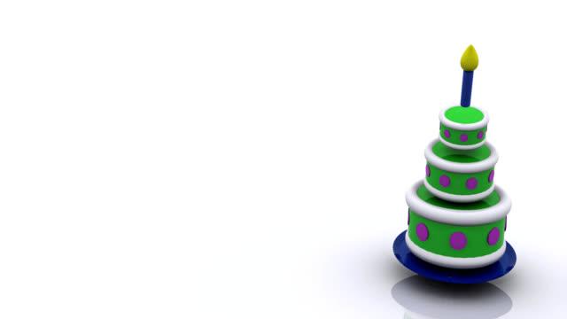 vidéos et rushes de animation 3d de gâteau d'anniversaire sautant de haut en bas - anniversaire