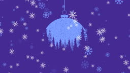 Animation of blue and purple christmas bauble decoration and snowflakes falling on purple background