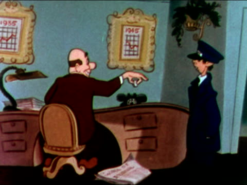 1949 animation of businessman receiving telegram that says 'no dividend' / audio - 1949 bildbanksvideor och videomaterial från bakom kulisserna
