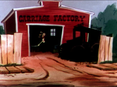 1949 animation of car explosion putting carriage factory out of business / audio - failure stock videos & royalty-free footage