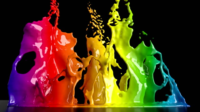cg animation of colorful paint splashing - liquid stock videos & royalty-free footage