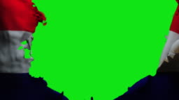 3D animation of Croatia Flag being Ripped, Green Screen Chromakey