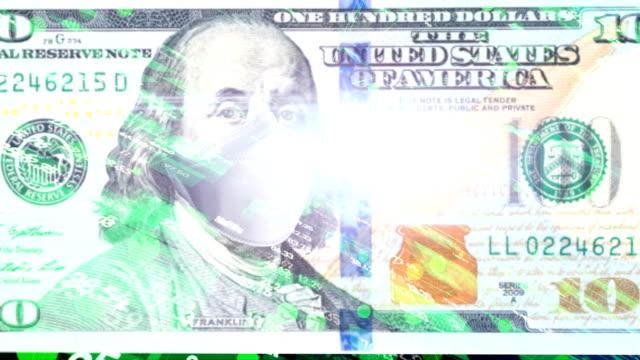 ドル紙幣を使った暗号通貨マイニングプロセスのアニメーション - ベンジャミン・フランクリン点の映像素材/bロール