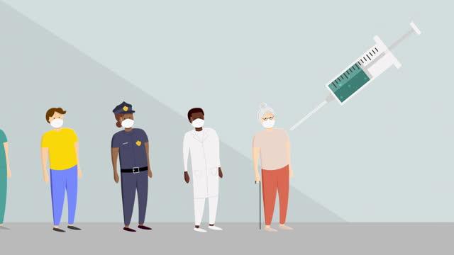 animering av olika människor som bär skyddande ansiktsmasker som får ett vaccin - vänta bildbanksvideor och videomaterial från bakom kulisserna