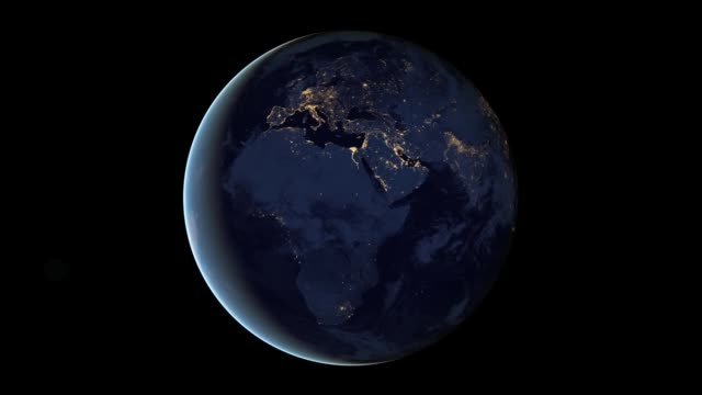 / animation of earth's city lights is a composite assembled from data acquired by the suomi npp satellite. view of rotating earth at night on march... - turning stock videos & royalty-free footage
