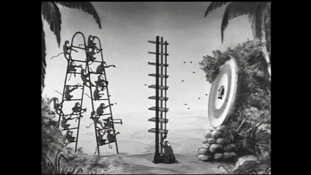 stockvideo's en b-roll-footage met animation of electrons flowing inside a vacuum tube and little man hailing inside; group of monkeys throwing pebbles on ladder at bull's eye - 1940 1949