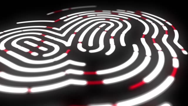 animation of fingerprint black and white touch id futuristic digital processing of biometric scanner concept and security scanning of finger cyber mobile phone unlock applications - thumb stock videos & royalty-free footage