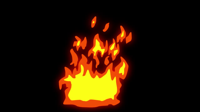 animation of fire burning - cartoon fire - alpha channel, overlay, screen mode - infinite loop stock video - fire natural phenomenon video stock e b–roll