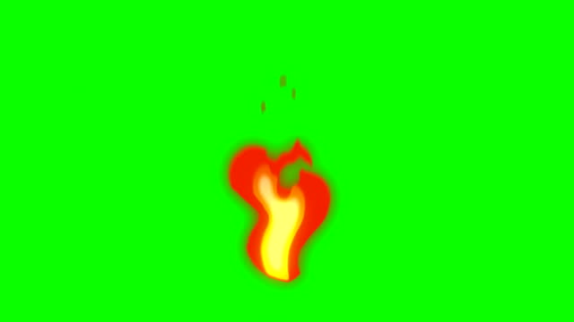 animation of fire burning - cartoon fire - green box - infinite loop - bangs stock videos and b-roll footage