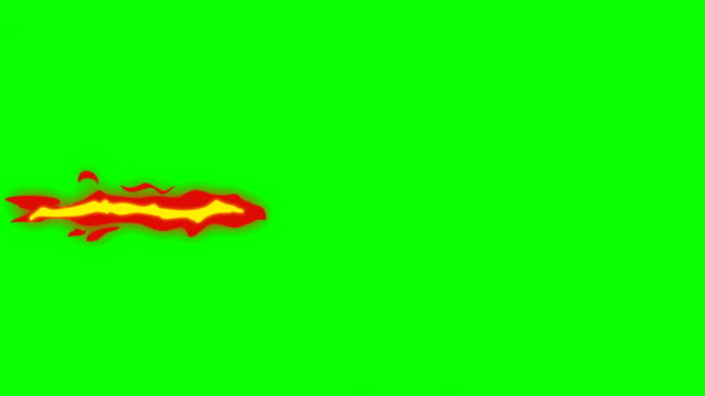 animation of fire burning - cartoon fire - green box - infinite loop - sparare video stock e b–roll