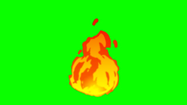 vídeos de stock e filmes b-roll de animation of fire burning - cartoon fire - green box - infinite loop - flame