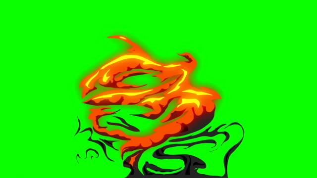 animation of fire burning - cartoon fire - green box - infinite loop - fire natural phenomenon video stock e b–roll