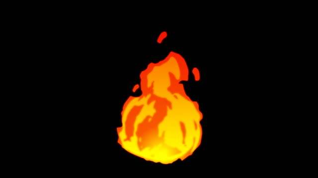 animation of fire burning - cartoon fire - overlay alpha channel - infinite loop - flame stock videos & royalty-free footage