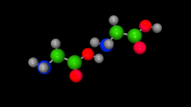 Animation of formation of peptide bond, black background