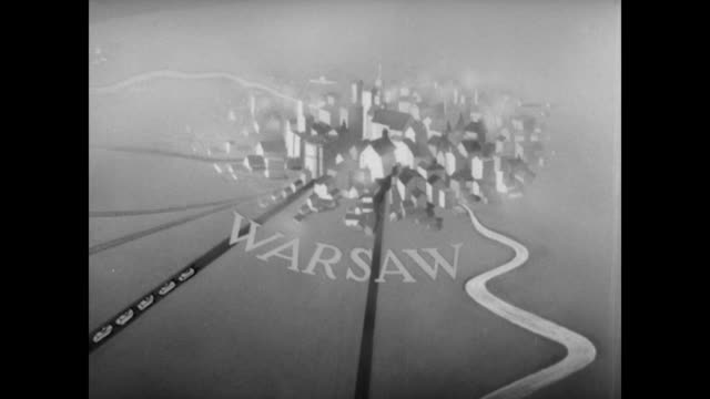 vídeos de stock, filmes e b-roll de wwii animation of germany's plan and invasion of warsaw through poland encircling the city and cutting it off forcing the surrender of most of the... - polônia