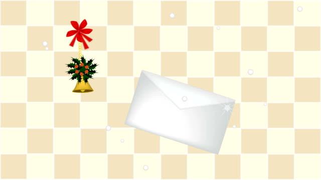 黄金の鐘と手紙とクリスマス ヒイラギのアニメーション - 航空便点の映像素材/bロール