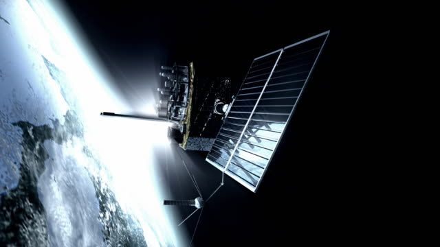 animation of gps (global positioning system) satellite orbiting the earth. the gps satellites transmit signals to the surface that allow gps receivers to pinpoint their exact location - satellite video stock e b–roll