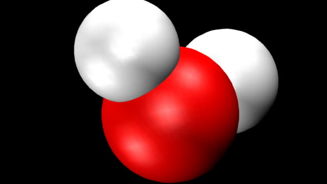 Animation of gyrating water molecule: Computer graphics space-filling model in which oxygen is shown in red, and the 2 hydrogen atoms in white