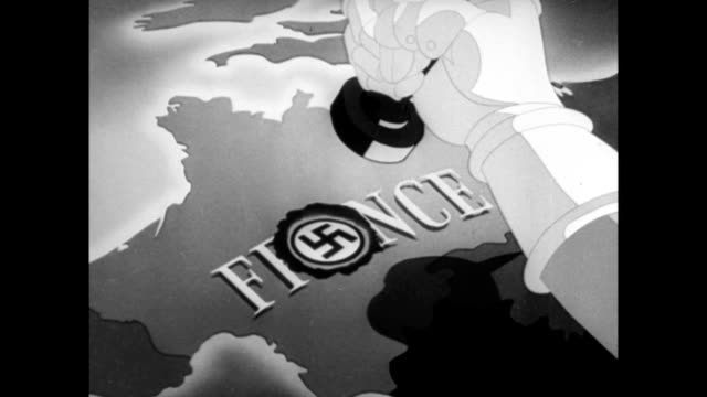 animation of hand stamping nazi swastika symbol over a conquered map of france animation nazis conquer france during wwii on june 23 1940 in france - 1940 stock-videos und b-roll-filmmaterial