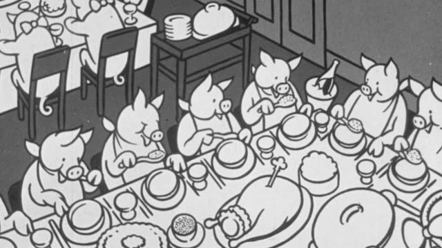 1928 B/W Animation of herd of pigs enjoying a banquet of food at food eating contest and then one by one hopping on a scale and being weighed / United Kingdom