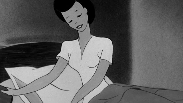 vídeos de stock, filmes e b-roll de montage animation of homemaker getting into bed and going to sleep / united kingdom - 1946