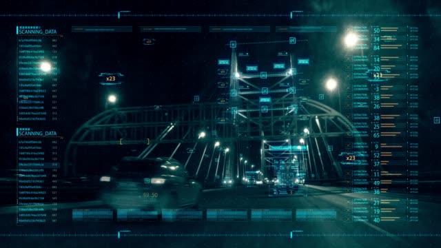 4K Animation of HUD head up display interface on with aerial view of highway for futuristic cyber technology concept