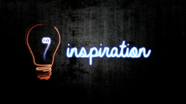 hd animation of light bulb & word 'inspiration' - light bulb stock videos and b-roll footage