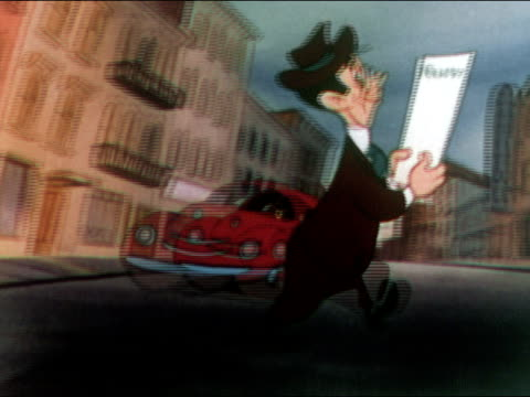1949 animation of man reading life insurance policy while carelessly crossing street / stepping on head of man working in manhole / audio - 1949 bildbanksvideor och videomaterial från bakom kulisserna