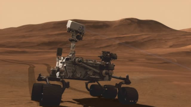 animation of mars rover curiosity on mars surface / rover rolling around on surface / rover shoots a laser at an object to learn more about it /... - surface level stock videos & royalty-free footage