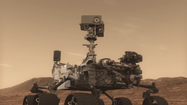 animation of mars rover curiosity on mars surface starting to explore its surroundings / mast with cameras are deployed / rover looking around,... - nasa video stock e b–roll