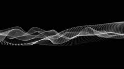 Animation of movements of white wavy dot lines on a black background