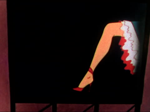 stockvideo's en b-roll-footage met 1949 animation of neon sign for hosiery flashing next to kicking leg of can-can dancer / audio - panty