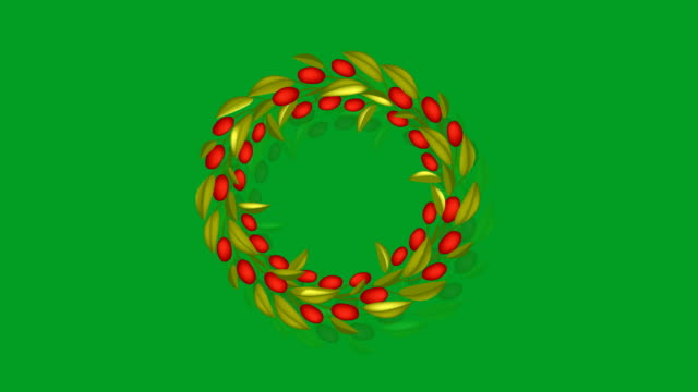 animation of olive wreath or olive crown with red fruit - alloro video stock e b–roll