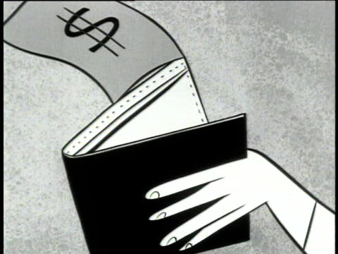 1950 b/w montage animation of paper money flying out of man's wallet, man crying / usa / audio - povertà video stock e b–roll