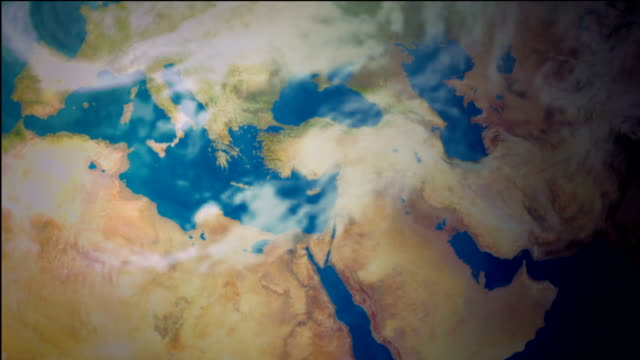 Animation of planet earth, spinning from North America to the Middle East