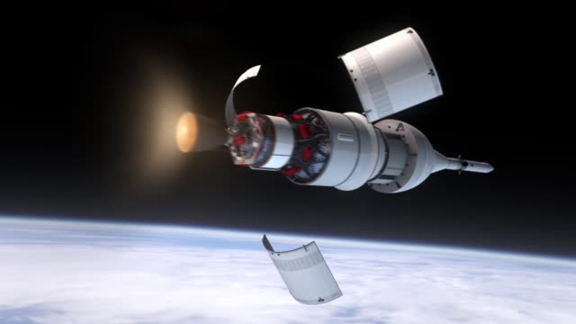stockvideo's en b-roll-footage met / animation of proposed 2014 exploration flight test 1 of orion 1, which will perform two orbits, reaching an altitude higher than any achieved by a... - raket ruimteschip