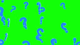 4K Animation of question Marks floating around randomly, against a black Loop background. 3D
