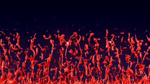 animation von roter farbe spritzt auf einem dunklen hintergrund. futuristische grafikanimation. 3d-rendering - wärme stock-videos und b-roll-filmmaterial