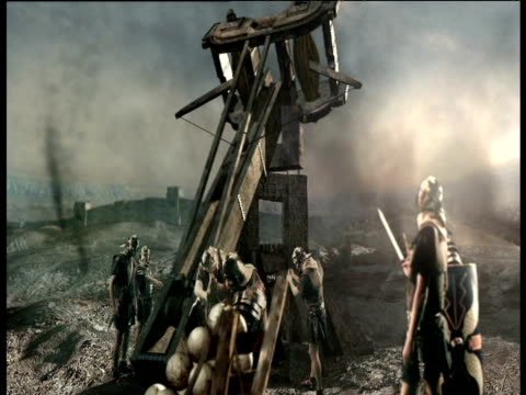 Animation of Roman soldiers firing stone balls from catapult at fortified wall