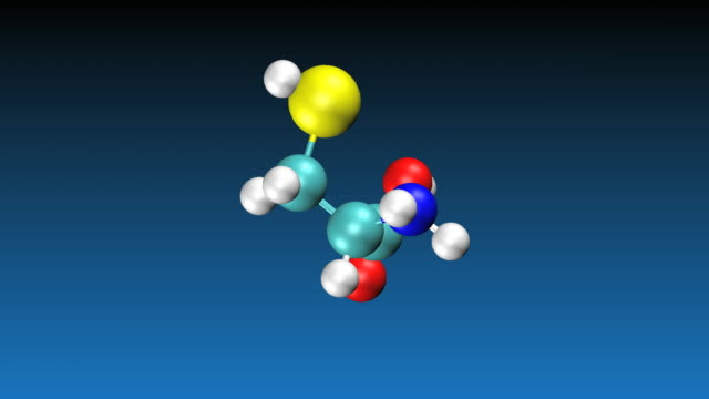 animation of rotating cysteine molecule - molecular structure stock videos & royalty-free footage