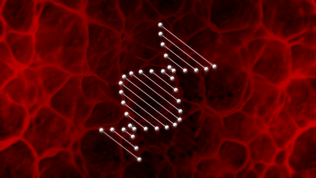 Animation of rotating DNA glowing molecule on red background