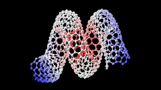 animation of rotating nanohelix molecule - nanotecnologia video stock e b–roll